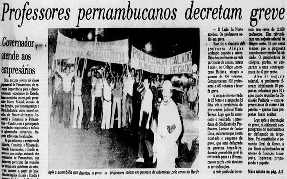 AUDIÊNCIA PÚBLICA LEMBRARÁ OS 40 ANOS DA GREVE DOS PROFESSORES(AS) EM PERNAMBUCO